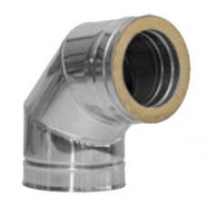 Twin Wall flue 6 inch dia 90 deg Elbow Stainless Finish